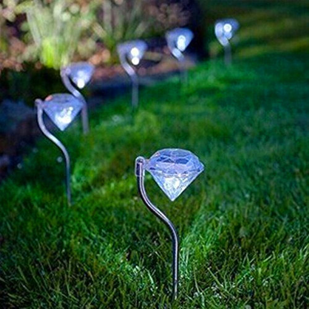 4pcs/set LED Solar Powered Garden Light Colorful Outdoor LED Lamps Path Stake Party Decoration Diamonds Lawn Light Solar Lights