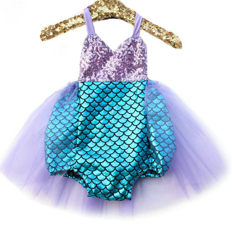 2017 Baby Mermaid Sequins Tulle Romper For Girls Kids TuTu Jumpsuits Clothes Newborn Sunsuit Overall Sleeveles Clothing 2-6Y 2017 sequins mermaid newborn baby girl summer tutu skirted romper bodysuit jumpsuit headband 2pcs outfits kids clothing set