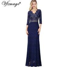 ee2e2a050 Vfemage cuello en V Mujer Floral Lace Keyhole volver Formal Prom vestidos  de Madre de la novia boda fiesta de Gala Maxi vestido .
