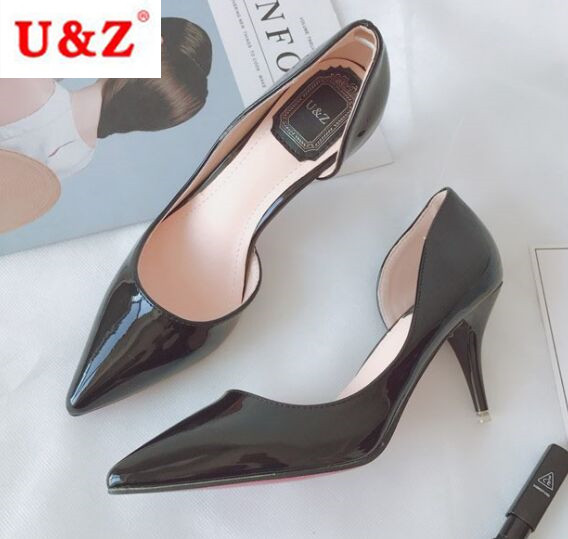 ФОТО Real photos U&Z brand pointed toe Black patent leather pumps one side open shoes 60mm middle heel comfortable pumps