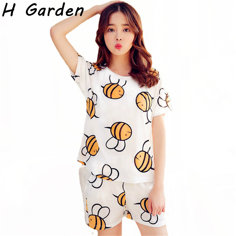 2017 Cotton Women Pajama Sets Summer Shorts Breathe And Comfortable Milk Silk Homewear Soft Home Suit Woman Cartoon Soft Sets