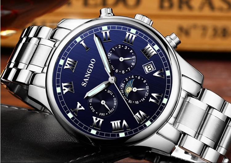 42MM SANGDO moon phase men s font b watch b font Automatic Self Wind movement Sapphire