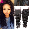 High Quality Brazillian Deep Wave Closure Wet And Wavy Closure Deep Curl Brazilian Water Wave Closure 4*4 Lace Closure Deep Wave