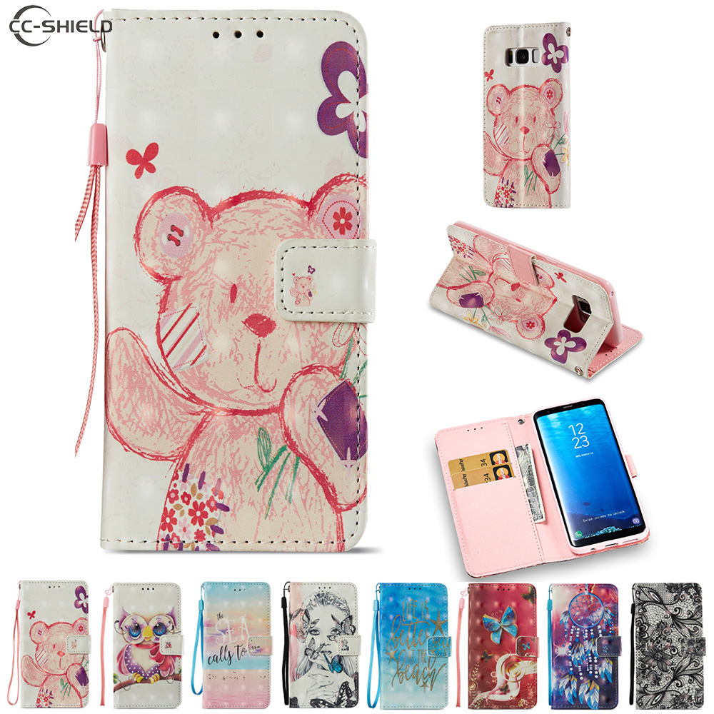 Cartoon Case for Samsung Galaxy S8 S 8 8S G950 G950F G950FD SM-G950F SM-G950FD Cute Bear Owl Cartoon PU Leather Flip Stand Cover