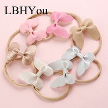 7pcs/lot Handmade Faux PU Leather Butterfly Nylon Headbands,Candy Color Soft Hair accessories For Baby Girls Head Wear