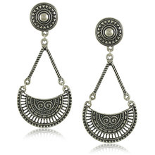 Fashion Earrings Boho Earrings For Women Metal Carved Vintage Antique Silver Plated Ethnic Shield Dangle Drop Jewelry