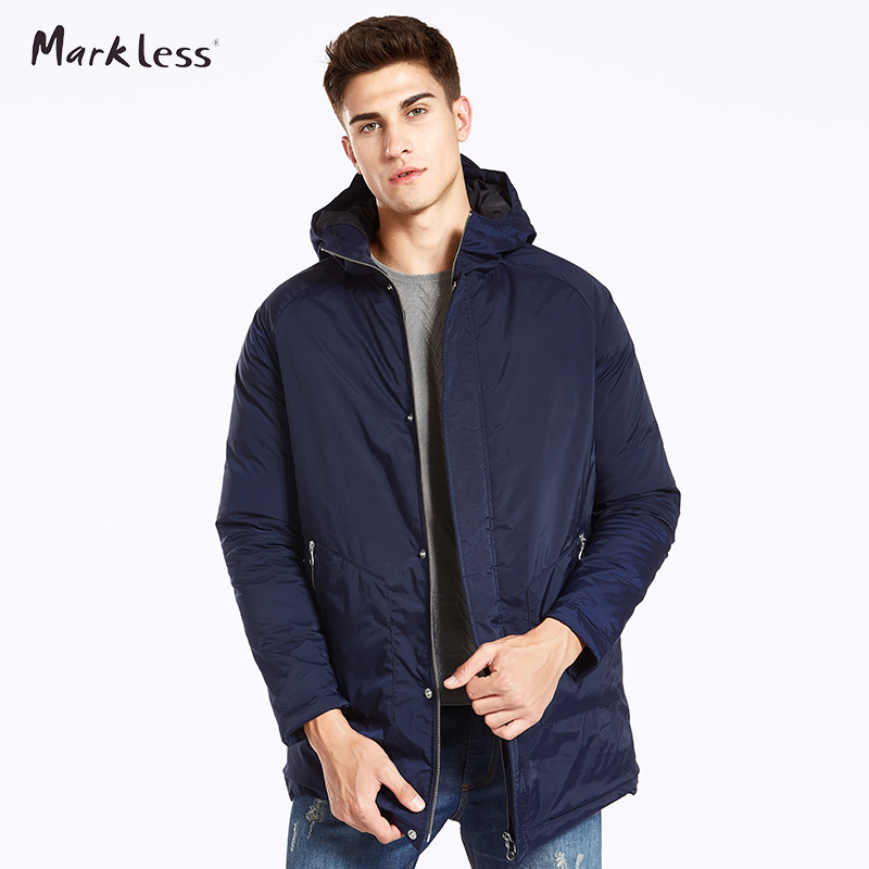 Markless Men Long Winter Coats Brand Clothing Casual Hooded Cotton Jackets Warm Outwear