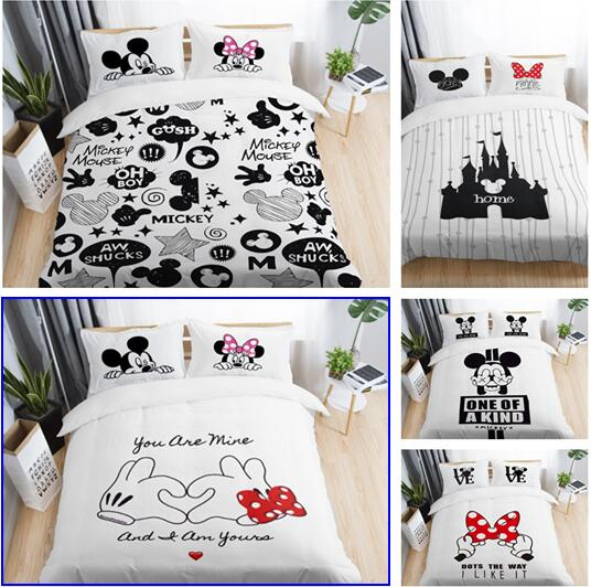 Mickey Minnie Mouse Bedding Set Black And White Cartoon Bedding Duvet Cover Sets Queen King Size 3/4PCS Bedclothes