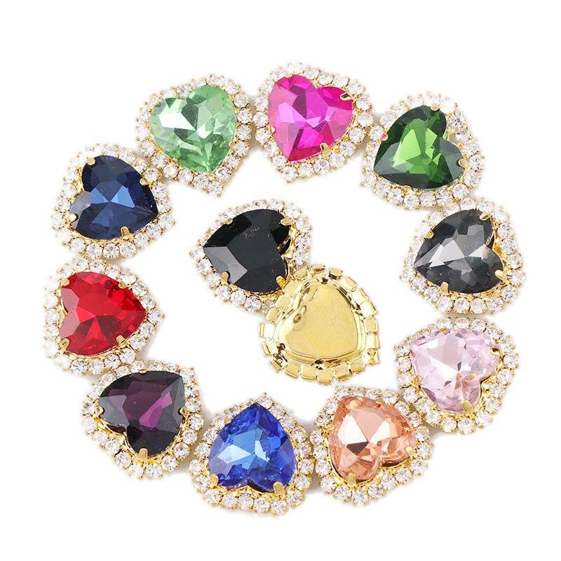 12 мм Золотое сердце пришить с разноцветный стеклянный камень коготь Кристалл Пряжка Кабошон База Камея Установка DIY Ювелирные изделия Одежда Шарм
