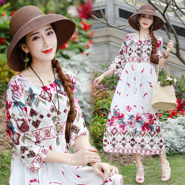 Summer Dresses Chinese Style Cotton Linen Loose Plus Size Floral Print China 2019 New Lady Women Casual Beach Wear Midi Dress
