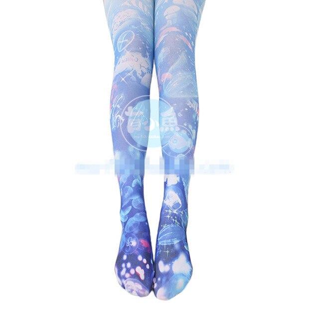 Princess sweet lolita pantyhose Japanese girl Marine jellyfish printing pantyhose LKW13