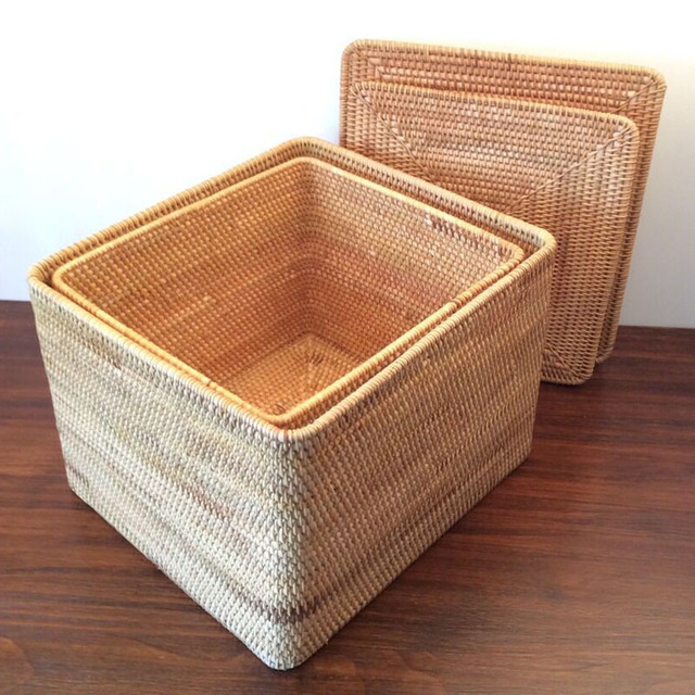 Large Clothes Storage Box Japan Style Rattan Storage Boxes With Lids  Sundries Toy Jewelry Storage Box