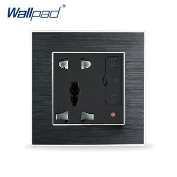 Toma Universal de 5 pines con Usb en la pared, Panel de Metal satinado de aluminio de lujo, toma Universal con toma de corriente USB