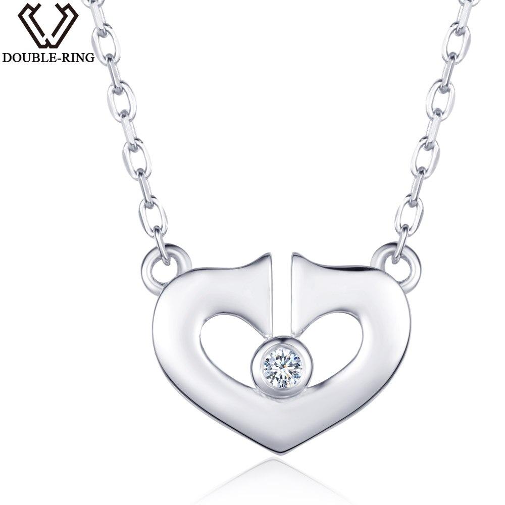 DOUBLE-R 0.02ct Diamant Naturel Pendentif Colliers Femmes Argent 925 18 pouce Chaîne Romantique Coeur Diamant Bijoux Cadeau Femme