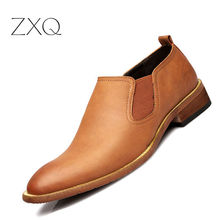 Men Leather Shoes Oxford Cow Leather Shoes Casual British Style Business Flats Shoes Casual Footwear Slip On Loafers