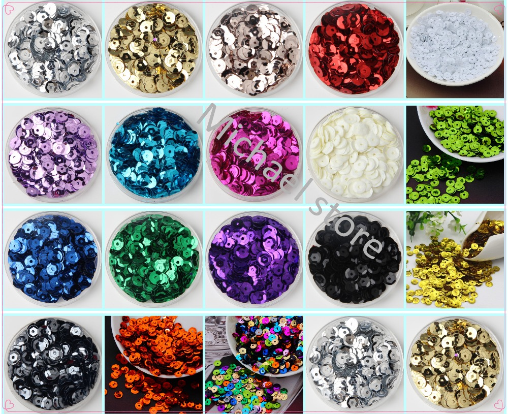 2500pcs 6mm silver-based color PVC round <font><b>cup</b></font> loose <font><b>sequins</b></font> Paillettes sewing <font><b>sequin</b></font> for Wedding decoration craft Free shipping