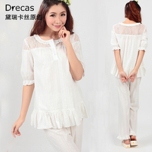 Princess lounge women's spring and summer white 100% cotton lace short sleeve length pants sleep set night