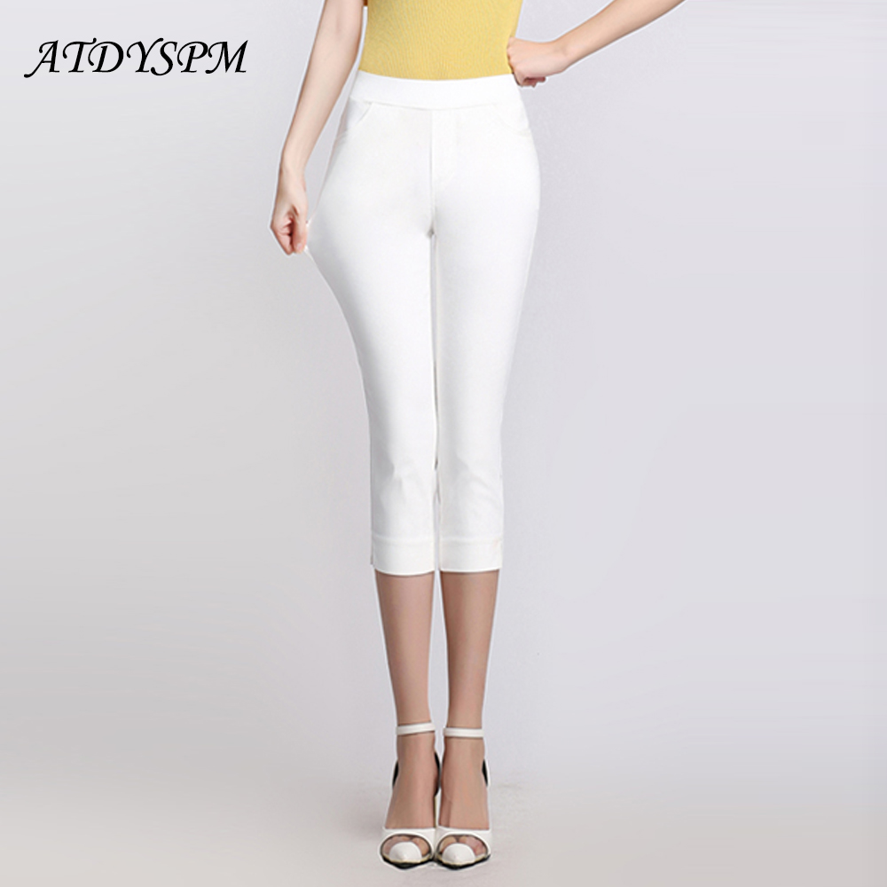 Plus Size Women Pencil Pants Capri High Elastic Waist Stretch Side Slit Office Causal Pants Female Summer Skinny Leggings
