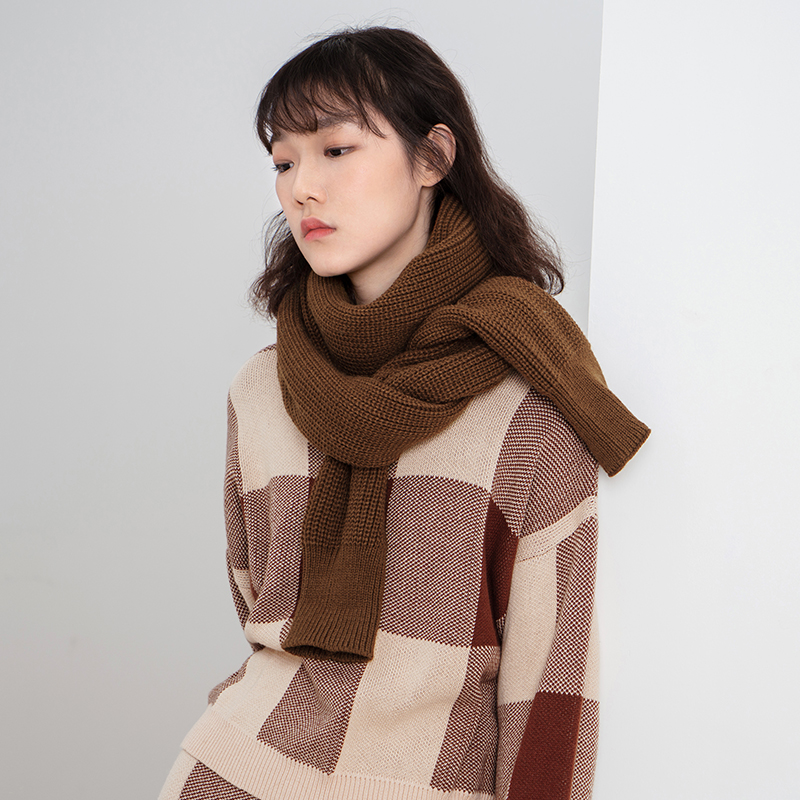 INMAn Spring Autumn And Winter Female Solid Color Korean Thick Wool Warm Hand Sleeve Scarf
