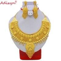 Adixyn Новый Мода Индии Цепочки и ожерелья серьги комплект ювелирных изделий для Для женщин 24 К золото Цвет элегантный арабских Свадебные/вече