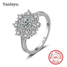 Yanleyu Sparkling CZ Flower Ring Original Solid 925 Sterling Silver Wedding Jewelry Rings for ...