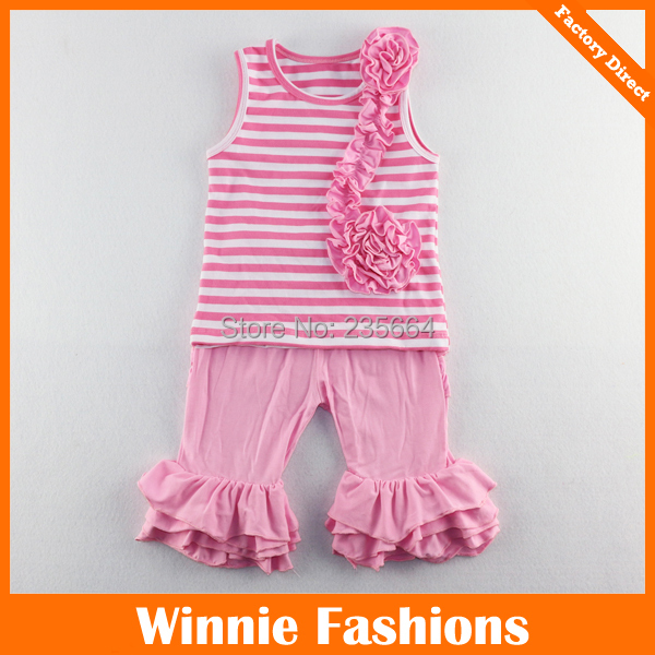 2016 Kids Clothes New Style Baby Girl Ruffle Clothing Set,striped Design Tank Top With Shorts Children Summer Set Free Shipping
