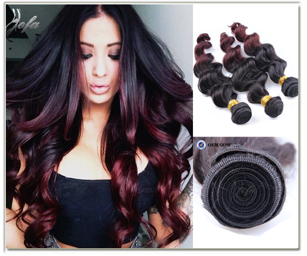 7a Peruvian Virgin Ombre Hair Extensions Burgundy Red Wavy Weave 3