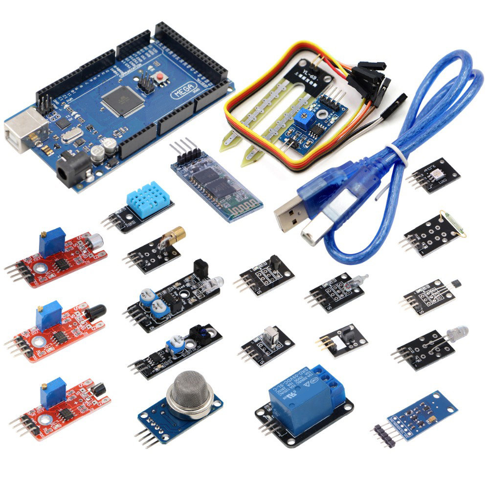 20 In 1 Modules Sensor Kit With MEGA2560 R3 Broad + USB Driver Board Module Free Shipping