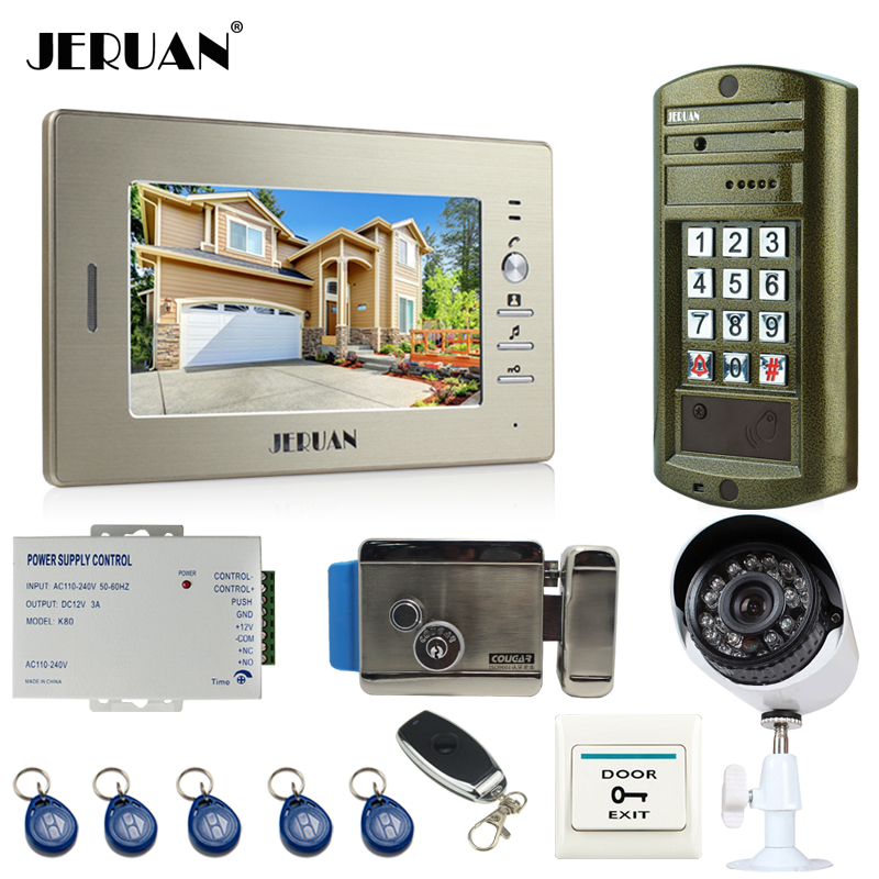 JERUAN 7`` Video Door Phone Intercom System kit Metal panel waterproof password keypad HD Mini Camera +Security Camera +E-LOCK jeruan 8 inch video door phone high definition mini camera metal panel with video recording and photo storage function
