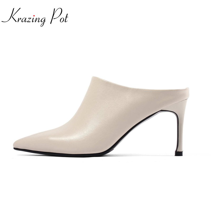 Krazing pot 2018 cow leather fashion women shoes slip on slingback pointed toe office lady mules high heels streetwear pumps L66 krazing pot new fashion brand shoes square toe shallow women pumps metal strange high heels slip on causal office lady shoe 02