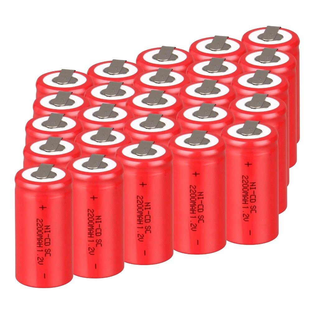 High quality 36 PCS Sub C SC battery rechargeable battery 1 2V 2200mAh Ni Cd Ni