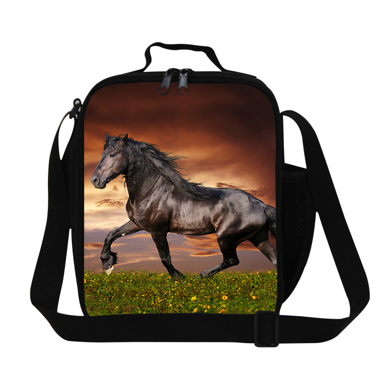 3D Horse Print Travel Outdoor Kids Picnic Bag Thermal Lunch Bag With Zip For School Food Container Lunch Box For Working