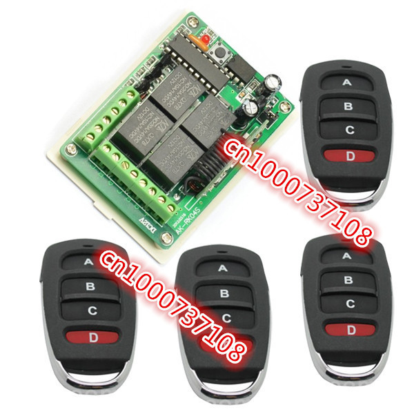 DC12v 4 CH 10A learning code RF Remote Control Switches 315MHZ /433MHZ Momentary/Toggle/Latch 12VAK-RK04S-12 remote control switches 12v dc 2ch relay rf receiver long range transmitter 300 3000m learning momentary toggle latched 315 433