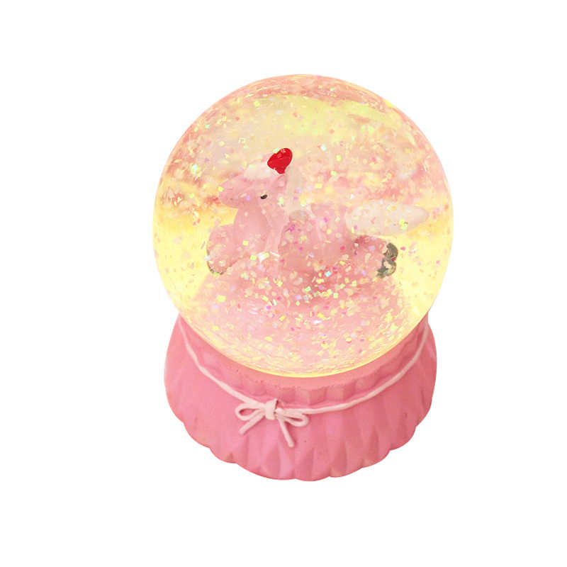 Cartoon Pink Unicorn Crystal Ball With Light Music Box Bright Pink Decorative Ball Gifts For The New Year Home Decoration Modern