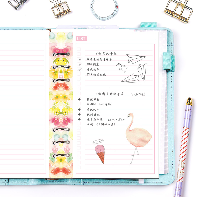 HELLO DREAM Series Inner Pages for Filofax Dokibook Notebook Spiral Planner 6 Hole Loose Leaf A5&A6 Diary Weekly Monthly Plan