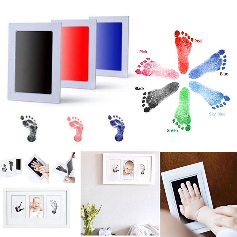 baby handprint footprint kit newborn baby photo album personalized footprint decorations box an88 Baby Care Non-Toxic Baby Handprint Footprint Imprint Kit Baby Souvenirs Casting Newborn Footprint Ink Pad Infant Clay Toy Gifts