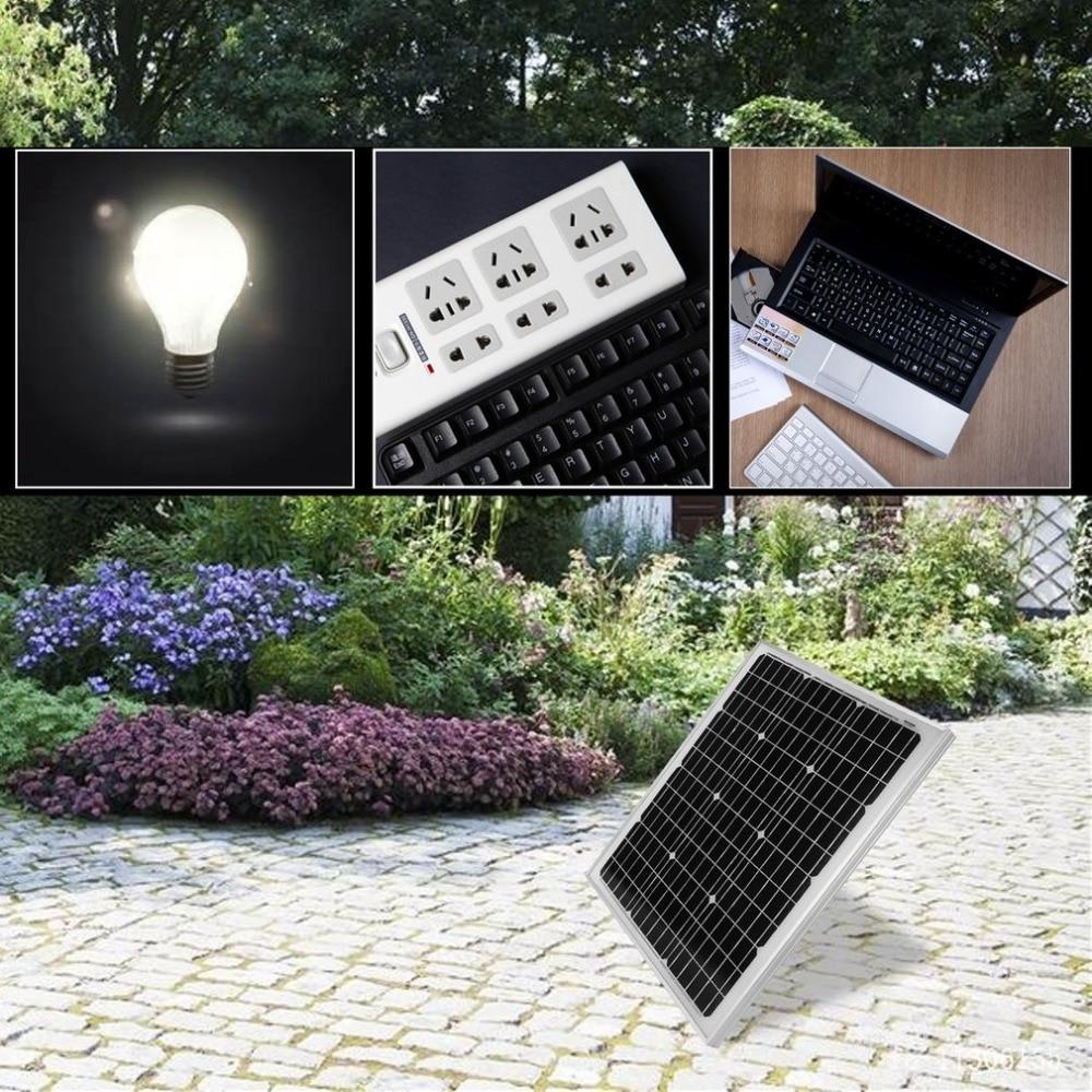50W 12V Solar Panel Monocrystalline Resistant Aluminum Frame Solar Panel Module Universal Outdoor Solar Charging Device expansion module elc md204l text panel