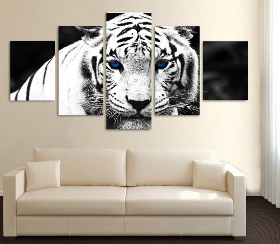 5 Pecas Pintura Copias Da Lona Tigre Branco Olhos Azuis Paineis De