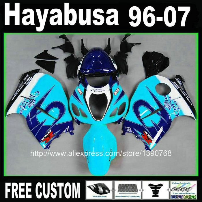 fairing kit for hayabusa suzuki GSXR1300 96-07 blue Corona fairings set GSX1300R 1996-2007 + Tank BT97 free customize mold fairing kit for suzuki gsx 600f 750f 95 96 97 05 red black fairings set gsx600f 1995 1996 2005 lm41