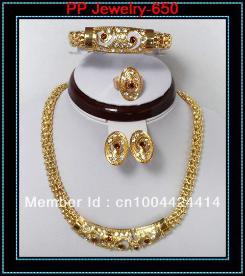 Free Shipping Necklace Earrings Bracelet Ring Gold Tone Wedding Jewelry Set