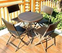 Складной Открытый Отдых столы и стулья открытый воздух балкон двор открытый сад ПЭ ротанга стул и стол комплект