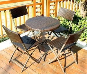 Folding outdoor leisure tables and chairs open-air balcony courtyard outdoor garden PE rattan chair and table combination