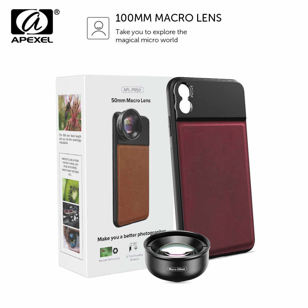 APEXEL HD 50mm Macro Lens Photography 10x Super Macro Phone Camera Lenses With C-Mount Phone Case For iPhone x xs max Huawei P20