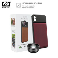 APEXEL HD 50mm Macro Lens Photography 10x Super Macro Phone Camera Lenses With C Mount Phone Case For iPhone x xs max Huawei P20