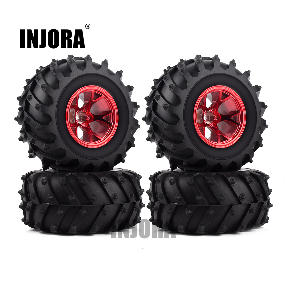 4PCS RC Monster Truck Wheel Rim Tires Kit for 1:10 Traxxas Tamiya HSP HPI Kyosho RC Trucks Car Rubber Tyre Parts 4pcs rc monster truck wheel rim tires kit for 1 10 traxxas tamiya hsp hpi kyosho rc trucks car rubber tyre parts