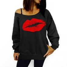 Women's Plus Size Sweatshirts Sexy Red Big Lips Printed Off Shoulder