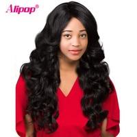 פאת גל גוף מלזי רמי מלא תחרת אדם פאות שיער נשים שחורות תחרה אדם שיער עם תינוק שיער ALIPOP תחרה פאה