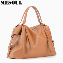 Casual Tote 100% Genuine Leather Women Handbags High Quality Fashion Shoulder Bags Ladies Soft Cow Leather Design Top-handle Bag