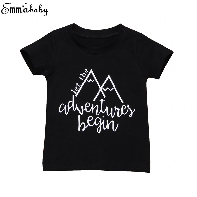 T-Shirt Toddler Short-Sleeve Baby-Boys Kids Cotton Black Newborn Tops Tees Casual