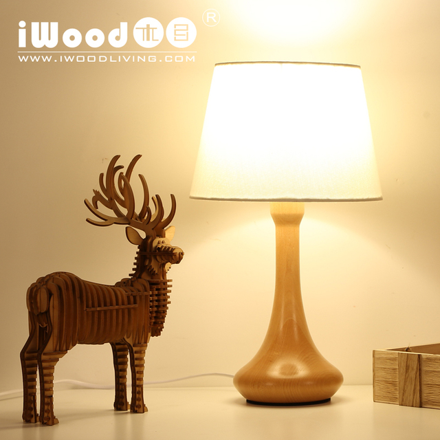 American Country Style Nordic Minimalist Bedroom Lamp Creative Study Light Beech Wooden Headlights Free Shipping